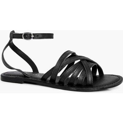 Cross Wrap Strap Leather Sandal - black