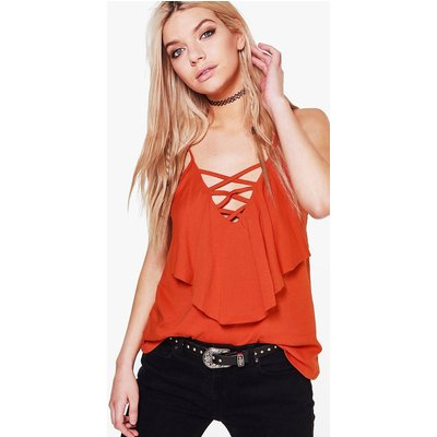 Lace Up Double Layer Cami - orange
