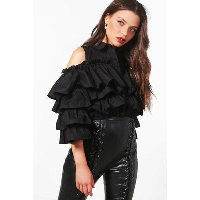 Crop Cold Shoulder Ruffle Shirt - black