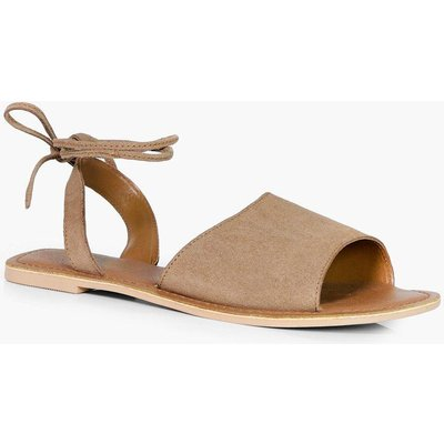 Suede Peeptoe Wrap Ankle Strap Sandal - tan