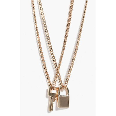 Padlock & Key Layered Necklace - gold
