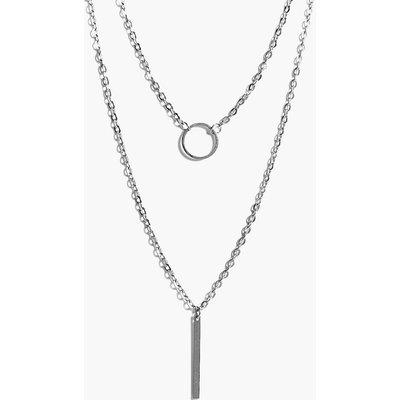Circle & Bar Skinny Layered Necklace - silver