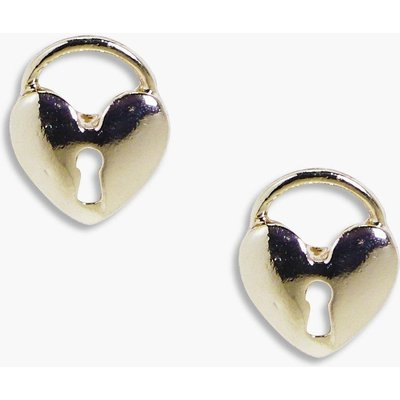 Heart Padlock Stud Earrings - gold