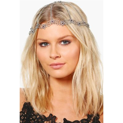 Ornate Floral Bridal Hair Chain - silver