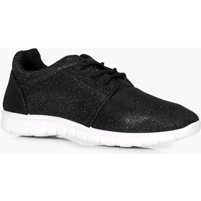 Glitter Knit Lace Up Trainer - black