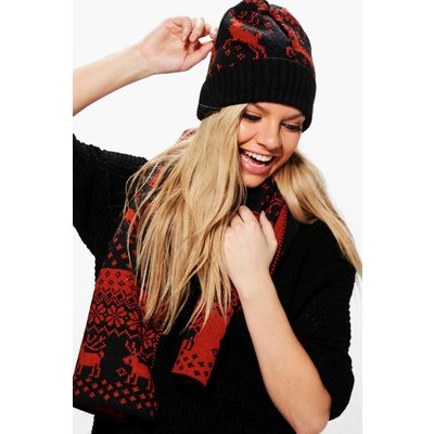 Fairisle Reindeer Hat & Scarf Set - red