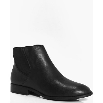 Pull On Flat Chelsea Boot - black