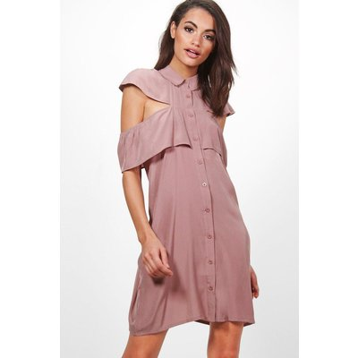 Ruffle Cold Shoulder Shirt Dress - lilas
