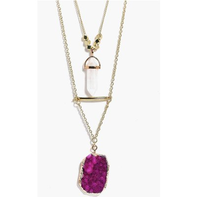 Crystal Pendant Layered Necklace - gold