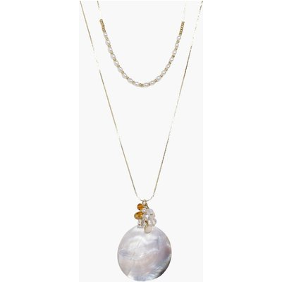 Crystal & Round Charm Layered Necklace - gold