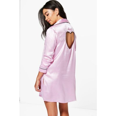 Penny Satin Cut Out Heart Button Night Shirt - pink
