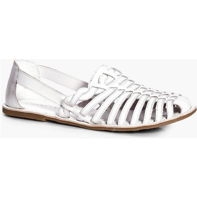 Leather Woven And Plaited Strap Ballet - white