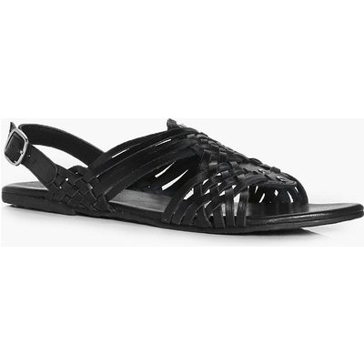 Leather Woven Sling Back Flat - black