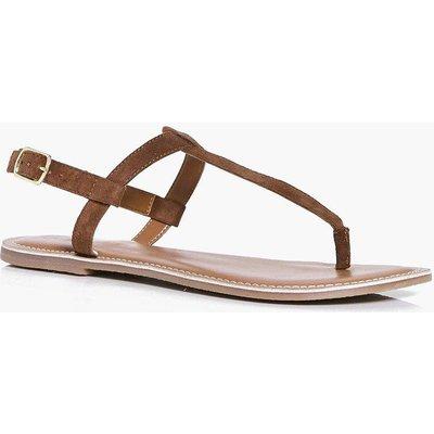 Suede Thong Toe Post Sandal - tan