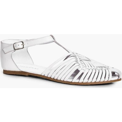 Leather Closed Toe Woven T Bar Flat - white