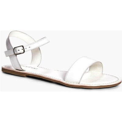 Leather Two Part Sandal - white