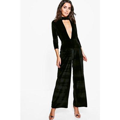 Choker Plunge Velvet Jumpsuit - black