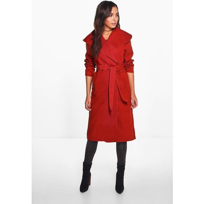 Belted Shawl Collar Coat - rust