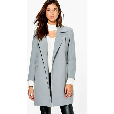 Zip Up Wool Look Coat - grey