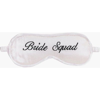 Squad Embroidered Satin Eye Mask - nude