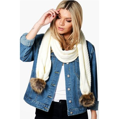 Faux Pom Trim Cable Knit Scarf - cream