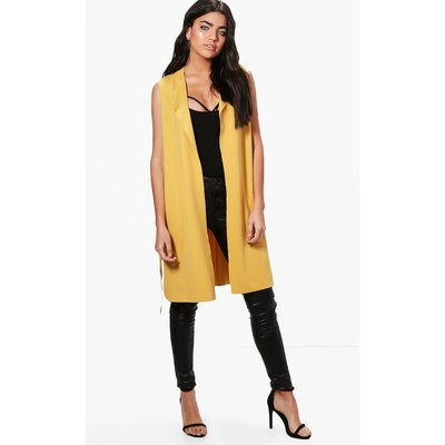 Sleeveless Belted Duster - yellow
