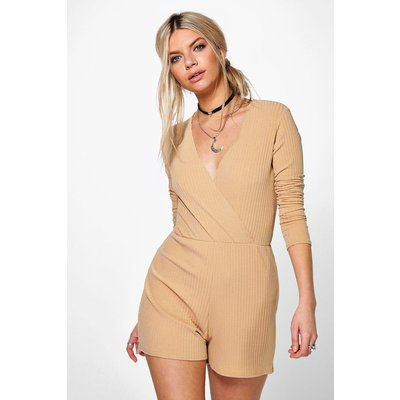 Ribbed Wrap Front Playsuit - camel