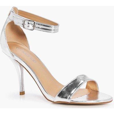 Metallic Mid Heel Two Part Heels - silver