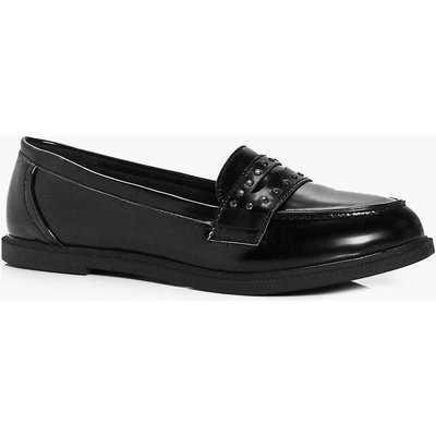 Pin Stud Trim Loafer - black