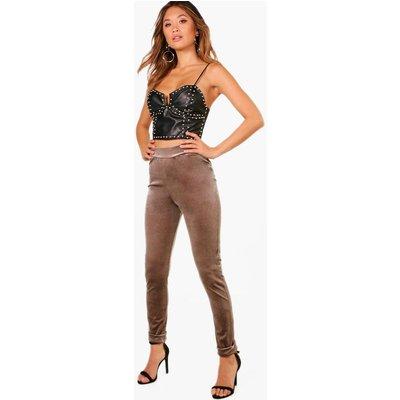 Velvet Turn Up Skinny Trousers - taupe