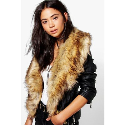 Boutique Faux Fur Trim Biker Jacket - natural