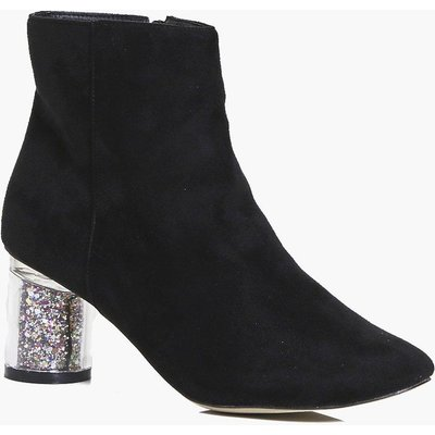 Clear Glitter Heel Ankle Boot - black