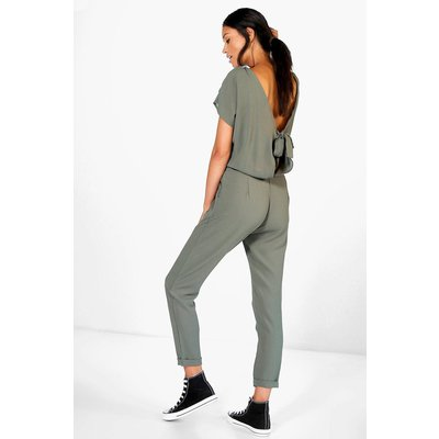 Capped Sleeve Relaxed Fit Tie Back Jumpsuit - khaki