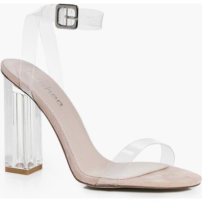 Suedette Clear Block Heels - nude