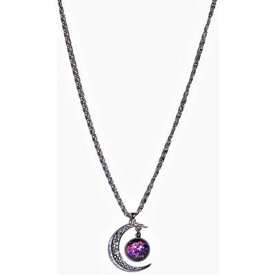 Galactic Moon Pendant Necklace - purple