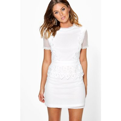 Cait Crochet Lace Peplum Shift Dress - ivory