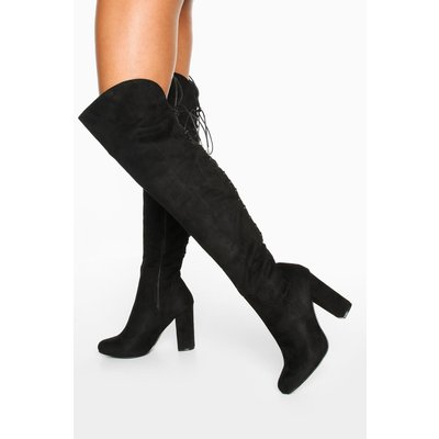 Lace Back Block Heel Over The Knee - black