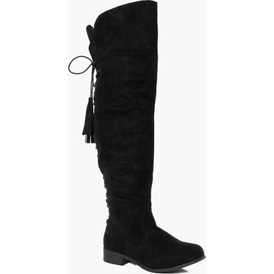 Flat Lace Back Tassel Long Leg Boot - black