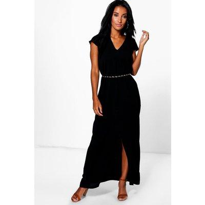 Wrap Front Split Maxi Dress - black