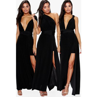 Multiway Side Split Skirt Maxi Dress - black