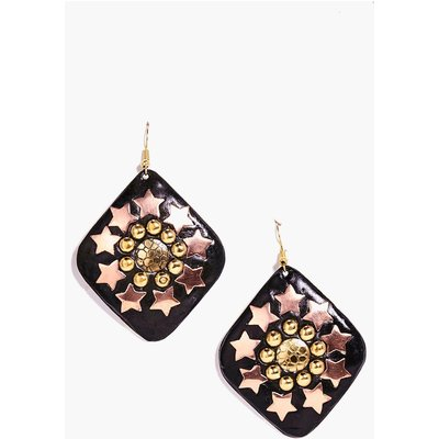 Star And Round Studded Earrings - black