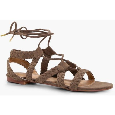 Plaited Lace Up Sandal - taupe