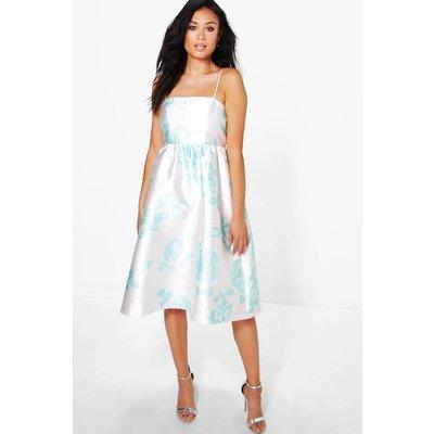 Ela Floral Sateen Strappy Midi Dress - mint