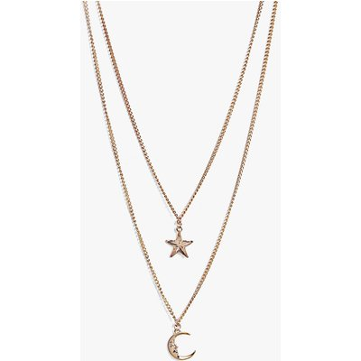 Moon And Star Layered Necklace - rose gold
