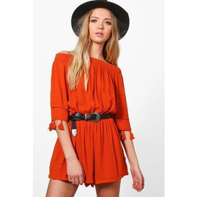 Tassel SleOff The Shoulder Woven Playsuit - orange