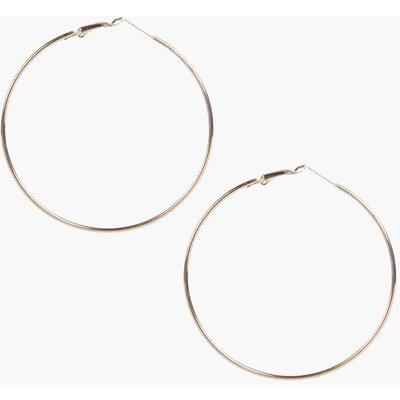 Plain 6.5cm Hoop Earrings - gold