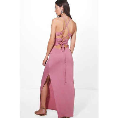 Back Lace Up Tie Maxi Dress - rose