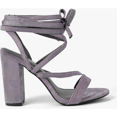 Wrap Strap Two Part Block Heel - grey