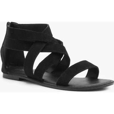 Erin Multi Strap Gladiator Suede Sandal - black