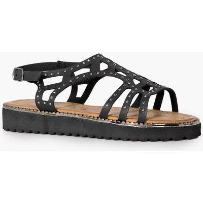 Laser Cut Embellished Sandal - black